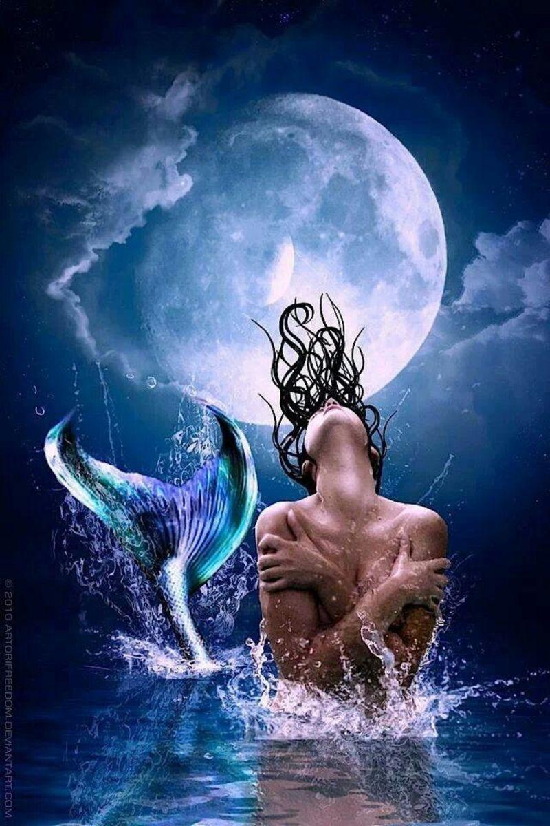 - Blue waters, moon mermaid -