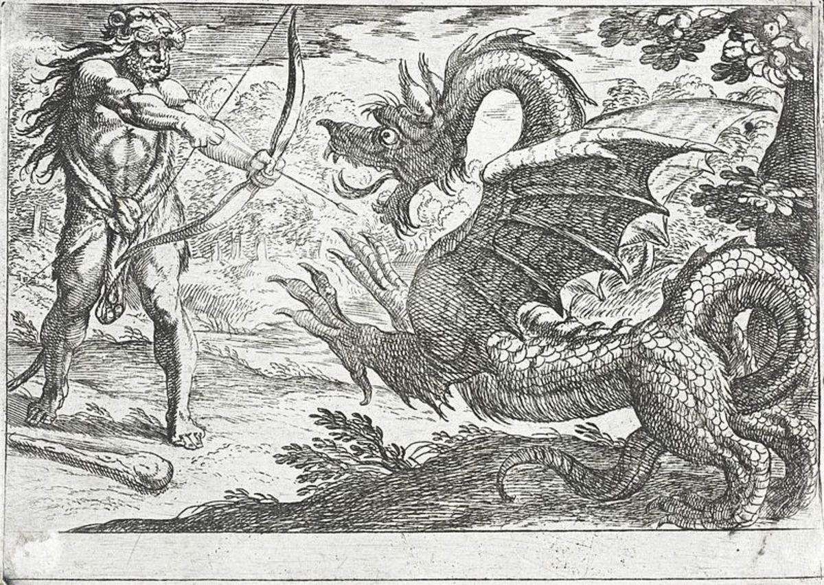 Hercules practices his dragon-killing skills on the dragon Ladon