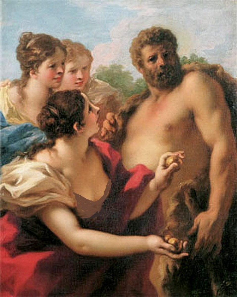 """Hercules with the """"Heathers"""" and the golden apples."""