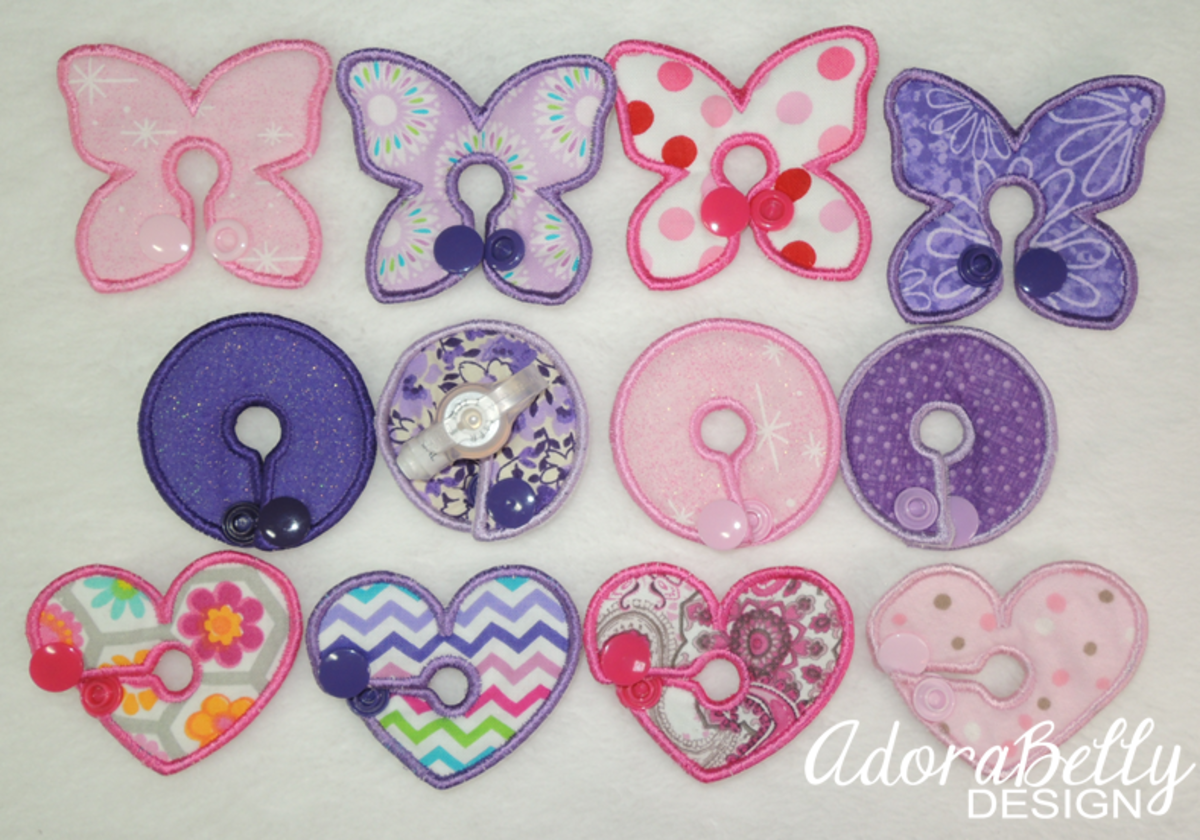 A sample of girl-inspired g-tube covers designed for a tubie by Julie. The photo is used with permission from Adorabelly Design.