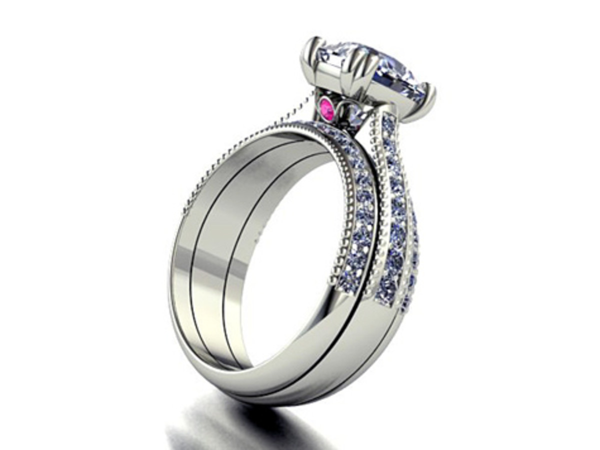 Diamond Wedding Set with Surprise Pink Diamond
