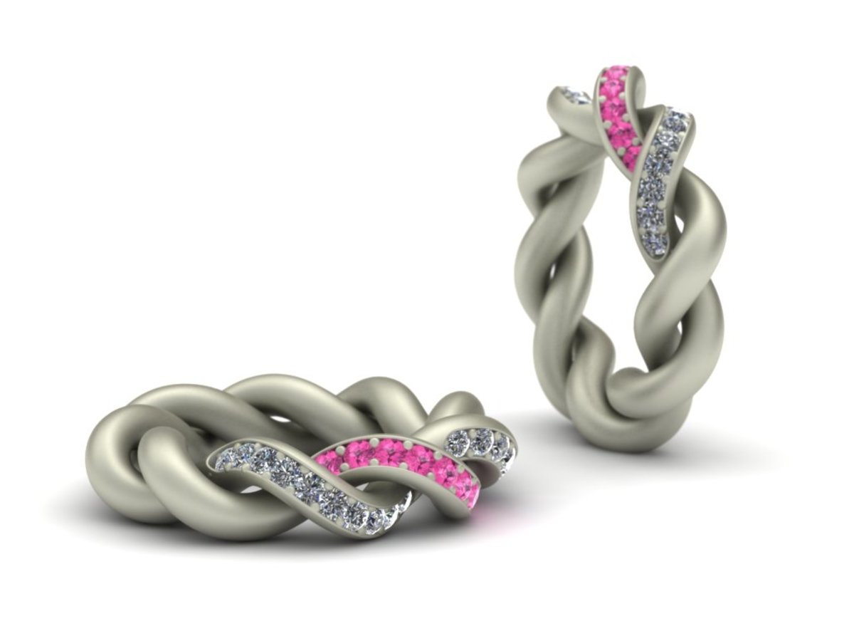 Pink and White Diamond Knot Ring