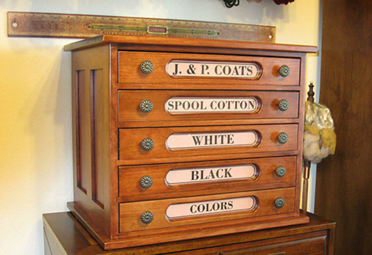 Reproduction Spool Cabinet from Cottage Craft Works.