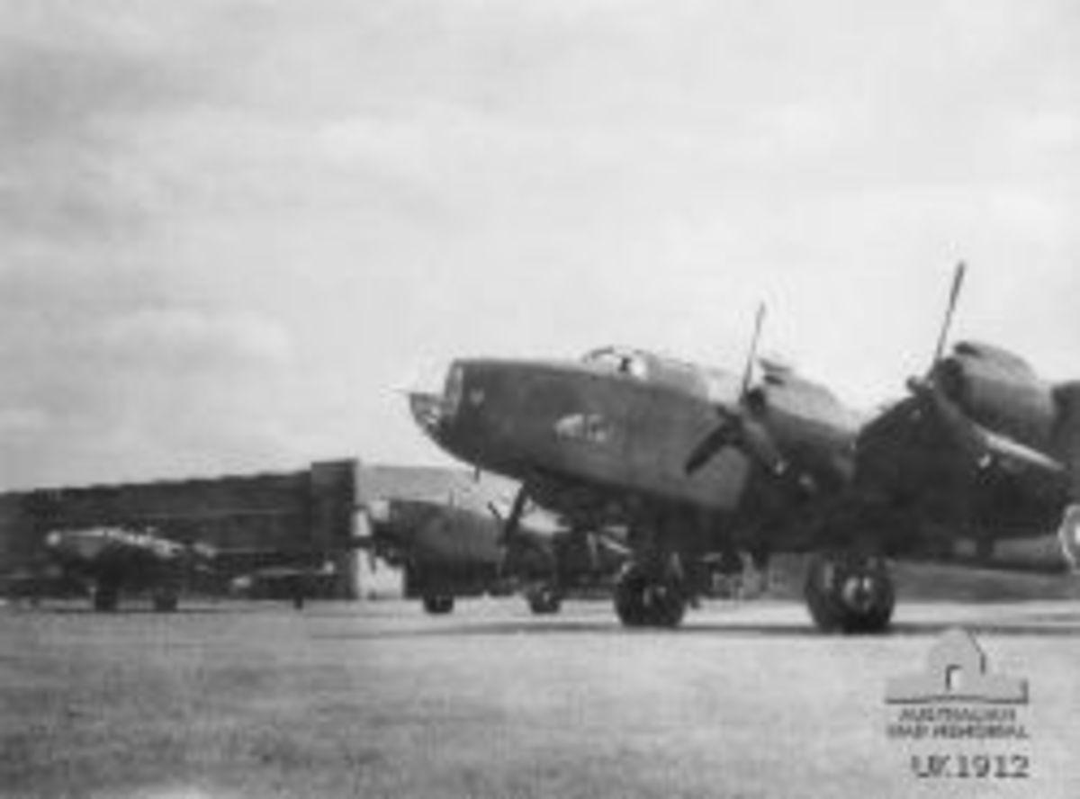 Photo of Halifax bomber aircraft of 466 squadron at RAF Station Driffield, Yorkshire, Enhgland c1944