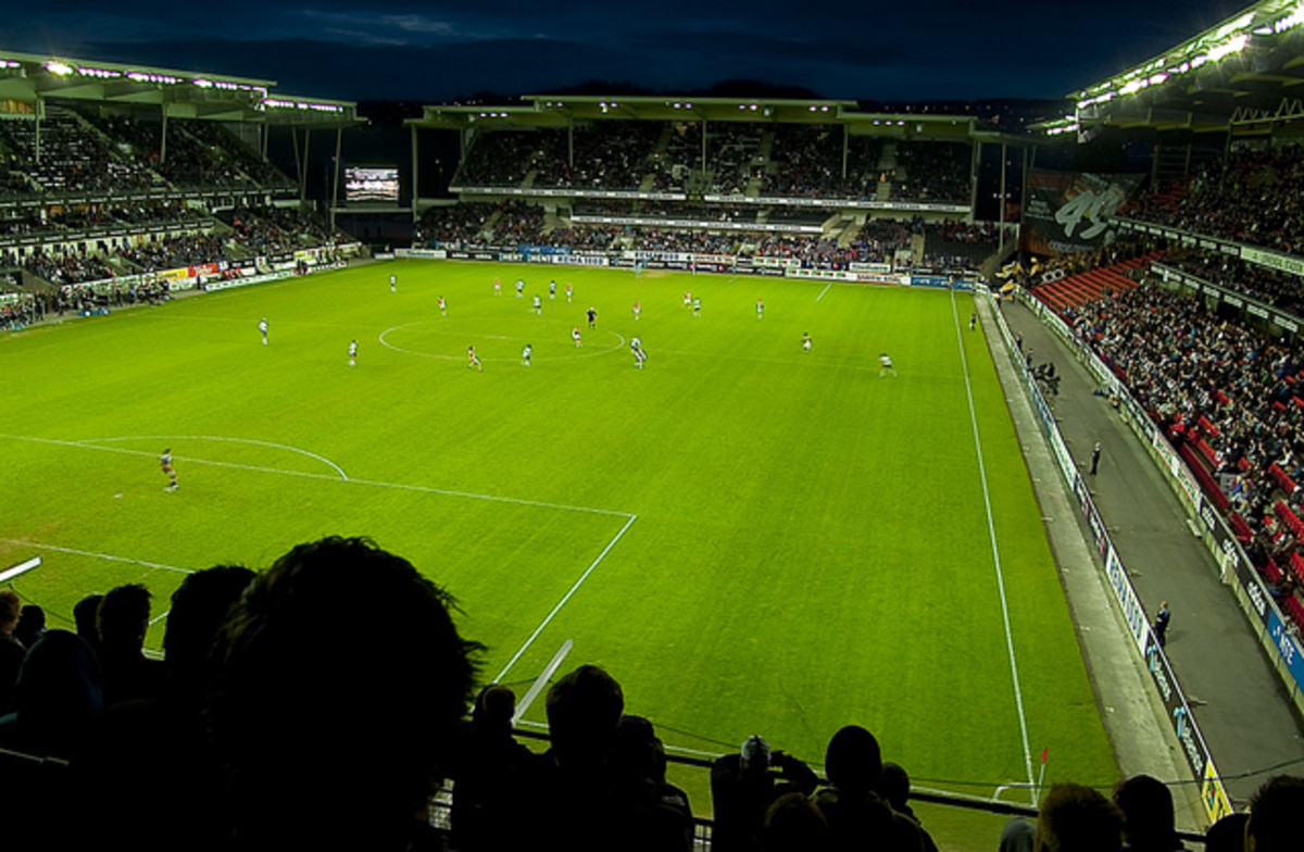 Rosenborg and Lillestrom in action during a 2010 Tippeligaen match in Round 8 on Apr. 25, 2010 at Lerkendal Stadium. The match finished scoreless as part Rosenborg's unbeaten season that year.