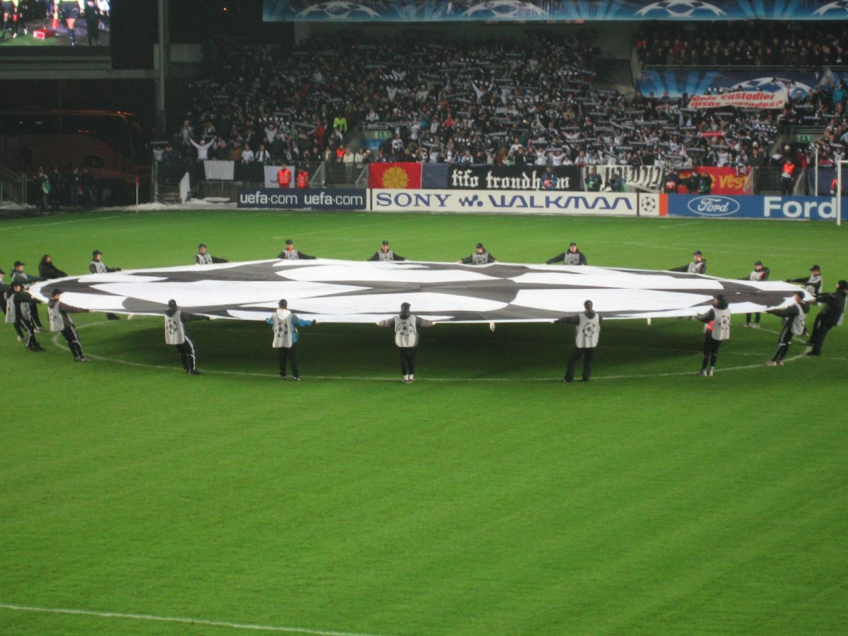 The symbol of the UEFA Champions League at center field in Lerkendal Stadium as Rosenborg prepared to host  Chelsea in a 2007 group stage match.