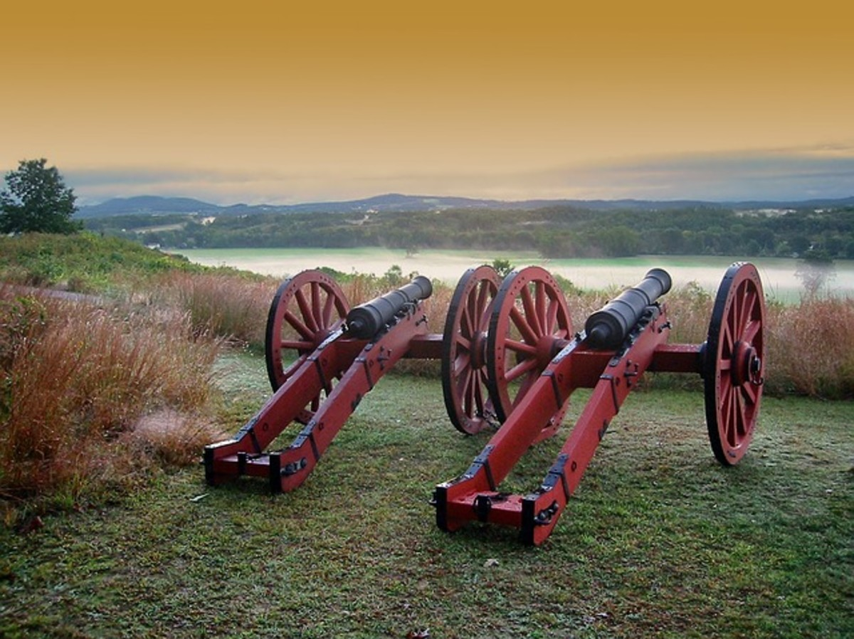 Two cannons overlook the Satatoga Battlefield in Maryland