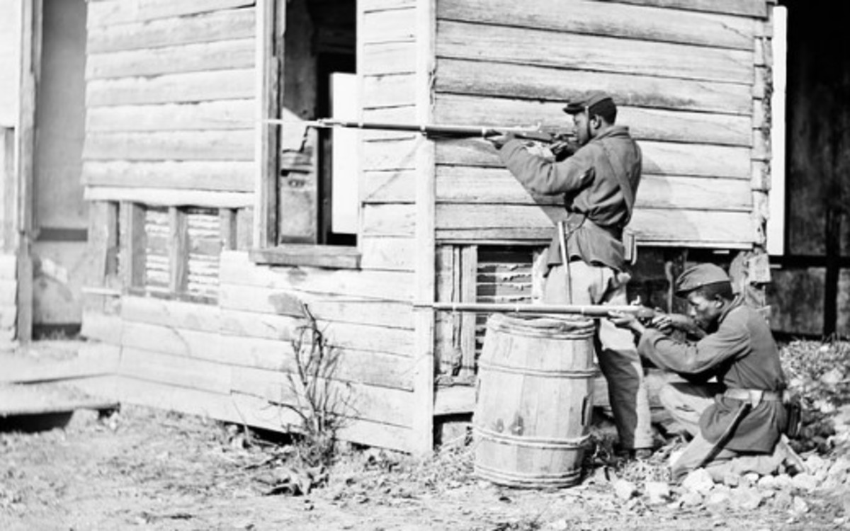 Afro-American soldiers fighting in Virginia 1864.  For many, the conflict was seen as a war of liberation.