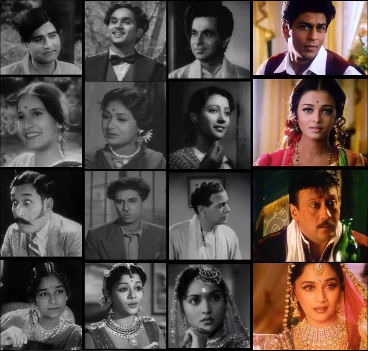 Devdas, Parvathi, Chunnilal / Bhagawan and Chandramukhi from 1936, 1953, 1955 and 2002