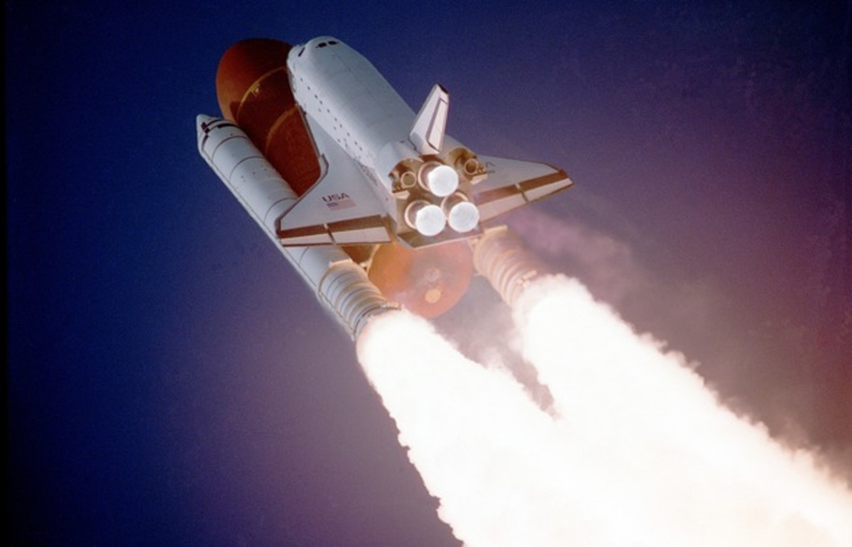 Space shuttle lift-off.  Technology developed for the shuttle missions is now used in everyday life.  Breakthrough technologies include those employed in computer electronics, medical treatments, and aviation safety.