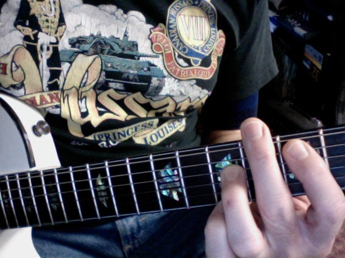Root 5 fret hand muting with the middle finger