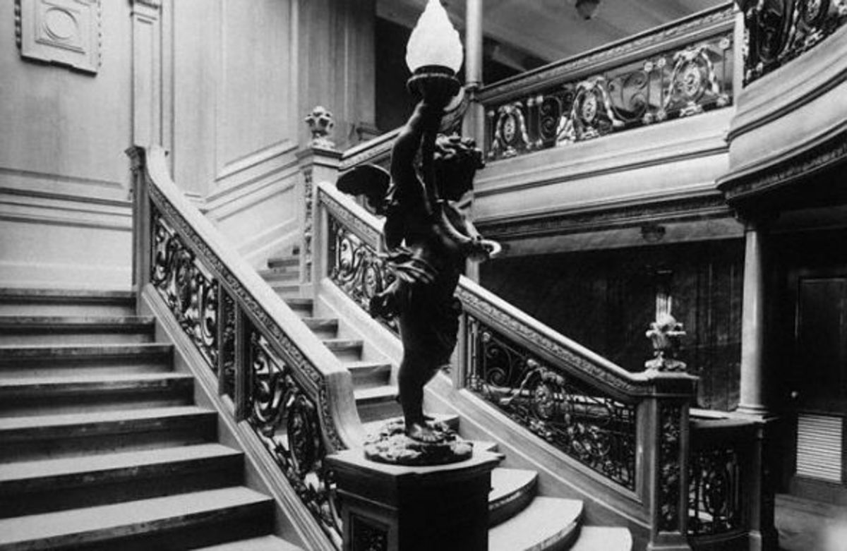 Grand Staircase : Olympic (Titanic's sister ship)  Image on the site: Best Resources on the Titanic for Kids: Science, Social Studies, Reading & Writing