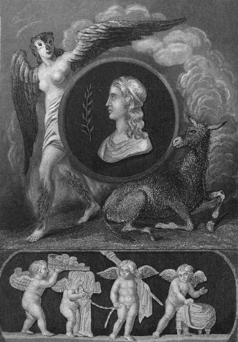 Frontispiece from Bohn's Libraries 1902 edition of The Works of Apuleius: a portrait of Apuleius flanked by Pamphile changing into an owl and the Golden Ass.