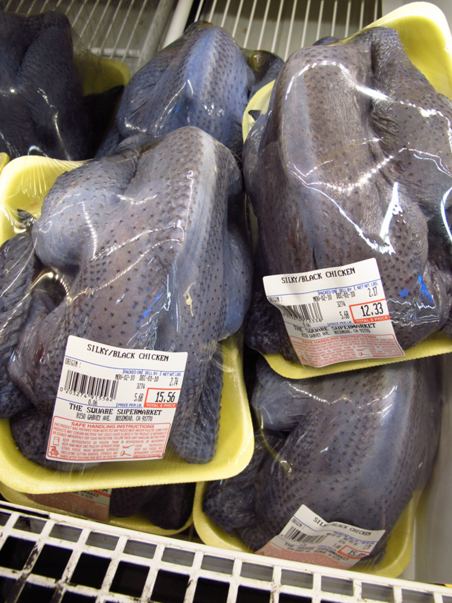 Black chicken (silky chicken / 烏骨雞 / wu gu ji) for sale - also known as hēi jī (黑雞) black chicken is known for its nutritious healing qualities and is often made into soup, along with medicinal herbs. In Korean, black chicken is: 오골계 / ogolgye.