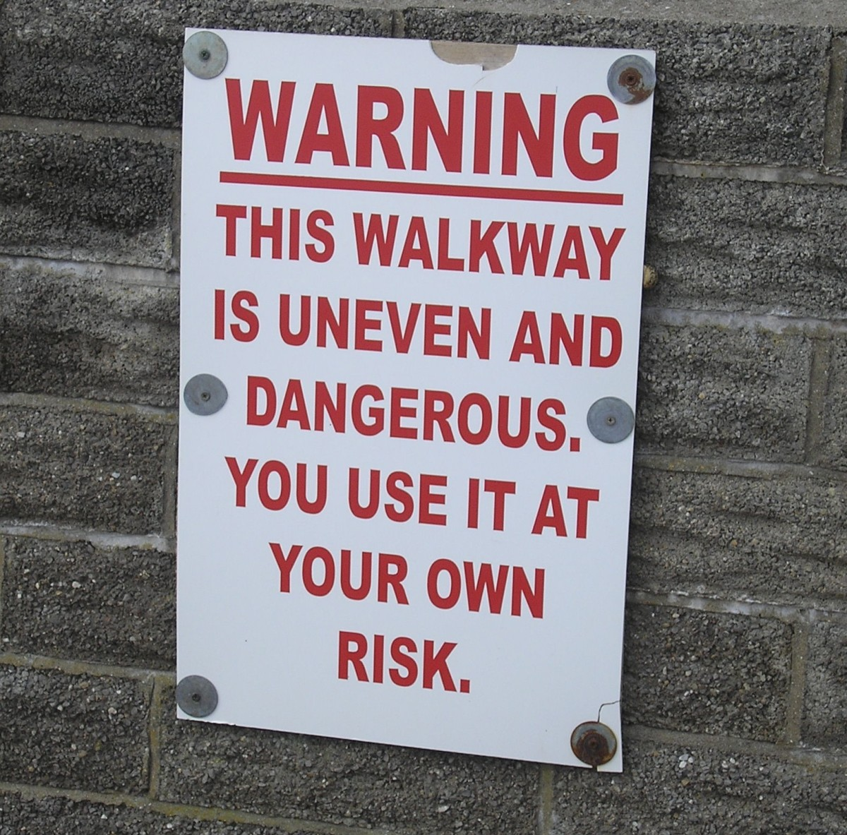 Walkway warning.