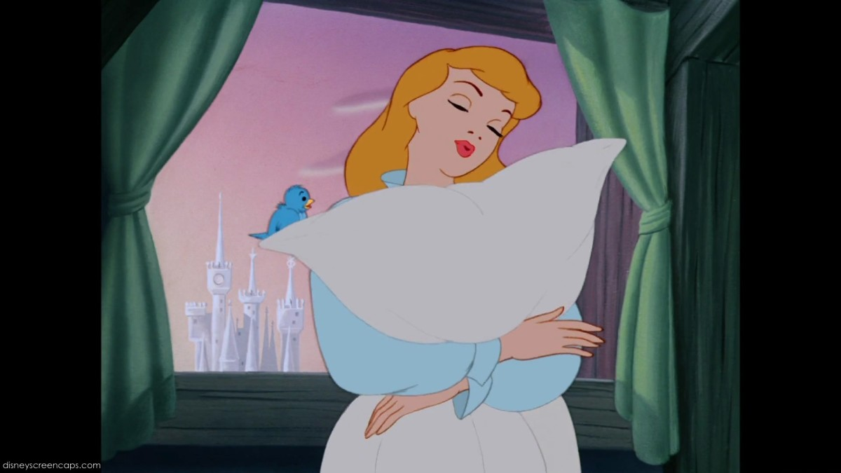 "Cinderella singing ""A Dream is a Wish Your Heart Makes."""