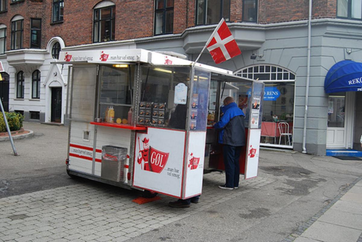 A Danish hot dog stand.