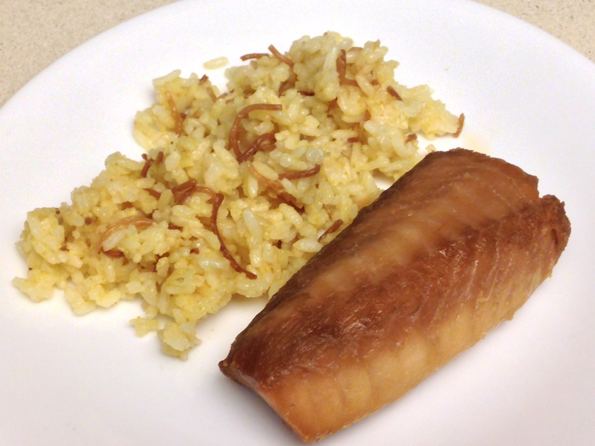 Cod marinated in soy, teriyaki sauce, ginger and garlic, baked in the oven