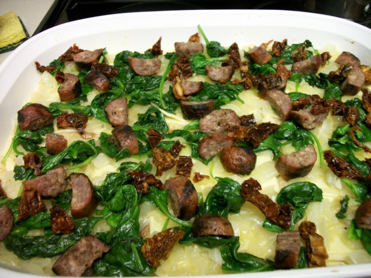 Layer spinach and brats over egg and bread mixture. Then top with remaining egg and cheese.  I like brat slices in scrambled eggs too.