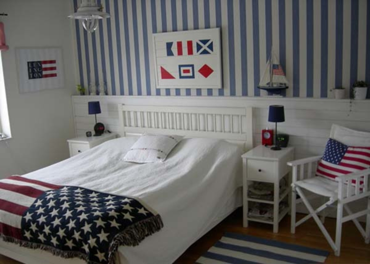 plate rail in a bedroom - nautical style