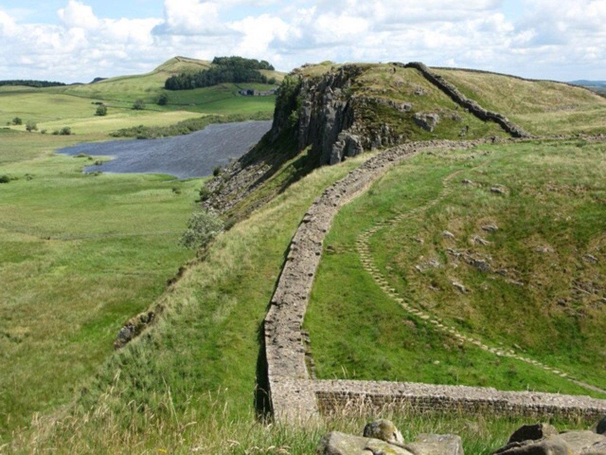 The ruins of Hadrian's wall in Northern England, which marked the northernmost frontier of the Roman Empire.