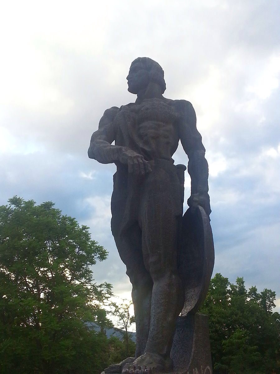 A statue of the ultimate slave rebel, Spartacus.