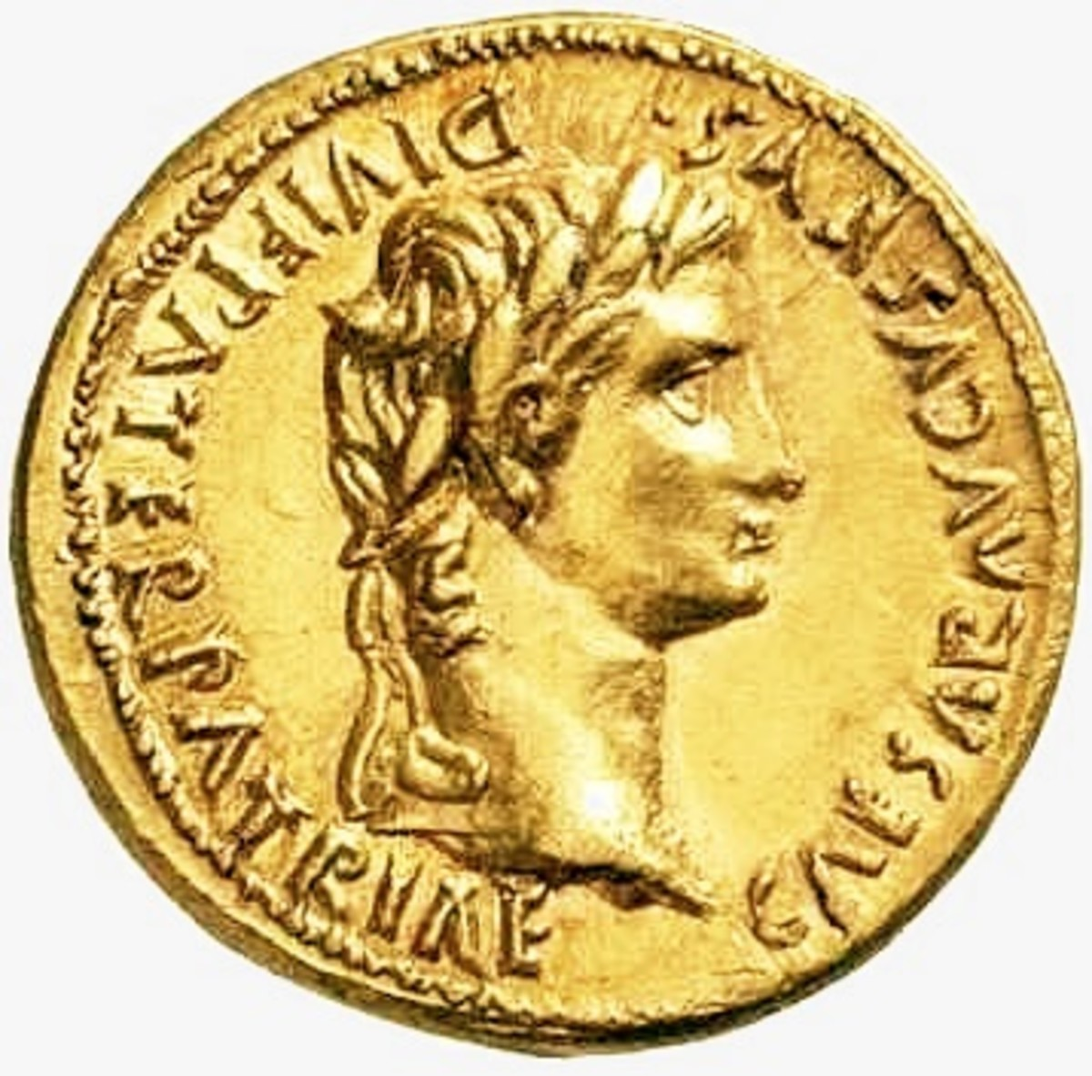 An aureus of Caesar Augustus, the first true Roman Emperor, who came to power in 27BC