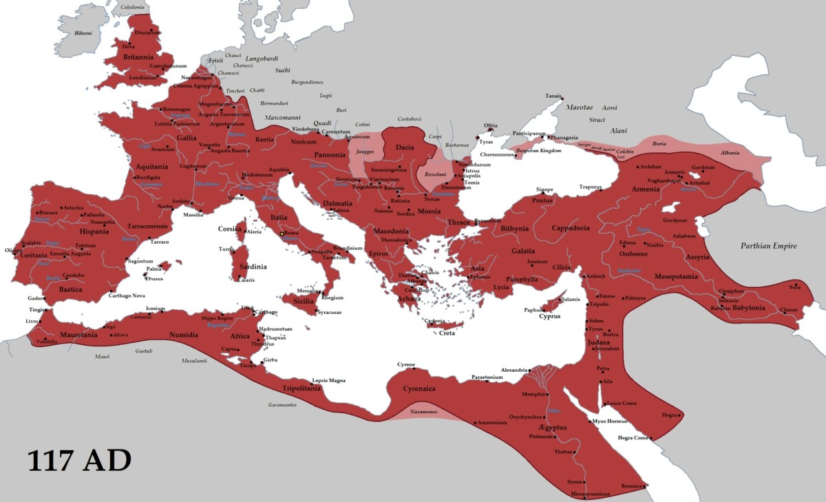 The Roman Empire at its greatest extent in 117 AD under the Emperor Trajan.