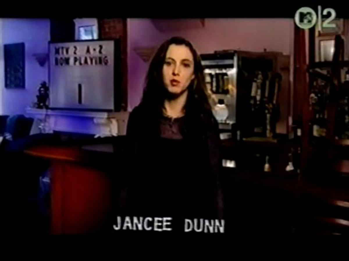 Jancee Dunn introducing the I videos during the marathon. Occasionally a video would play in the wrong letter, usually resulting in the correct video being dropped from the marathon.