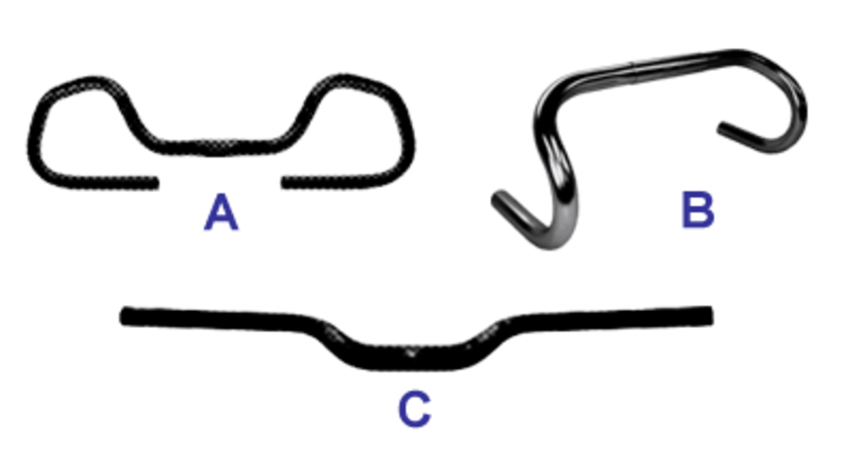 Three types of common touring bike handle bars: A: Butterfly, B: Dropbar, C:Flat Bar