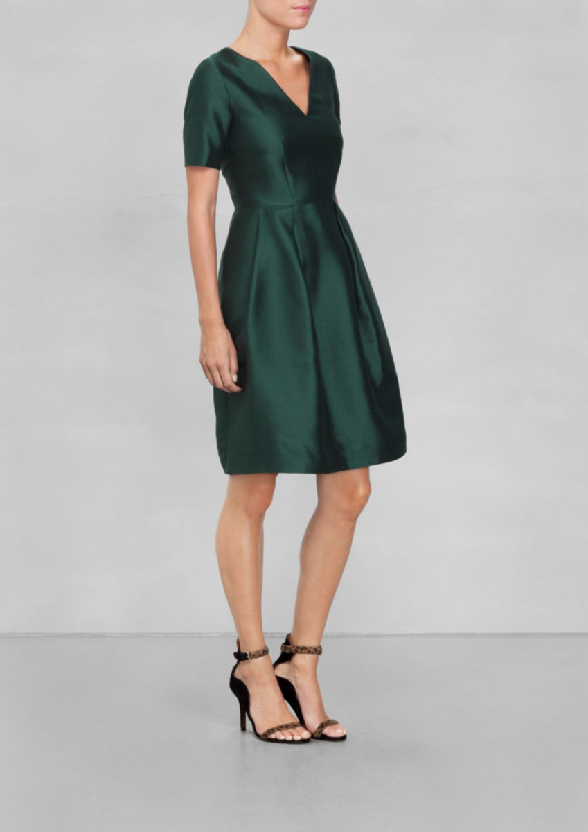 Simple V-neck Green Dress