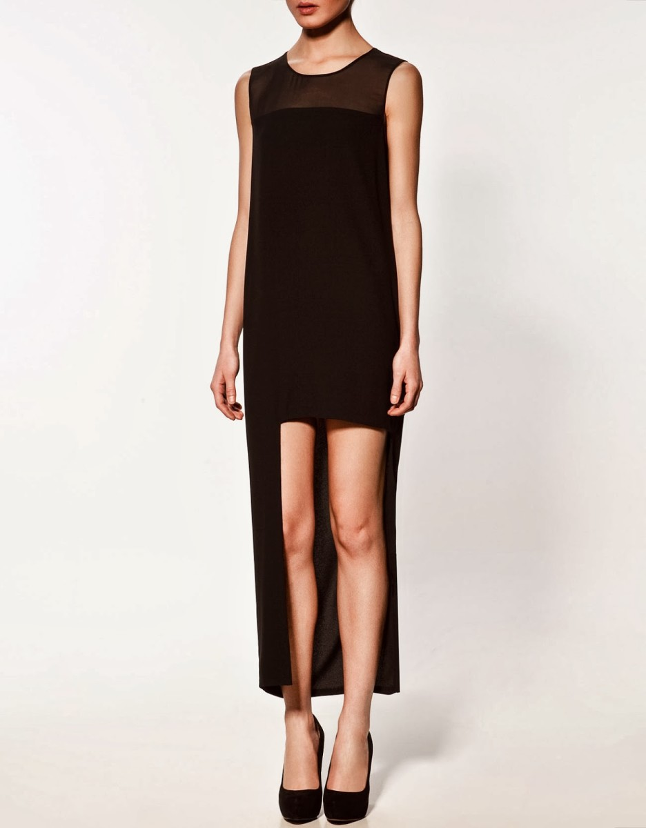 Asymmetrical Hem Sheer Black Dress