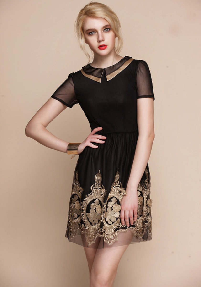 Black and Gold Sheer Embroidered Peter Pan Collar Short Dress