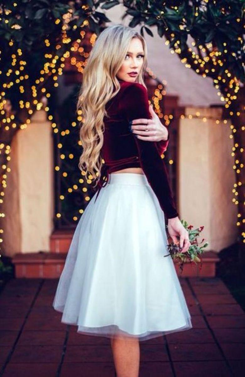 Velvet top and white skirt
