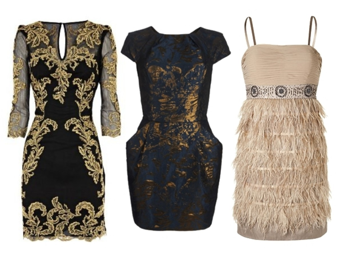 Black, Gold, and Beige Short Dresses