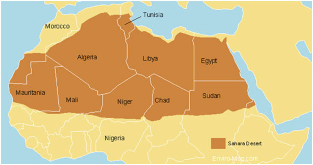 The size and shape of the Sahara desert