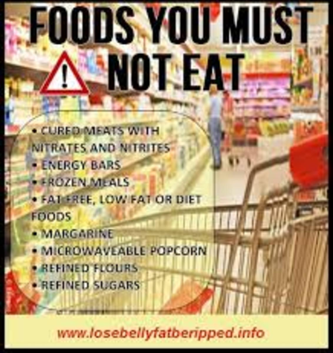 Charred or smoked foods, high saturated fat foods like meat, trans-fats found in supermarket baked and fried foods and packaged snacks like potato chips as well as microwave popcorn, high sugar and salt foods can lead to disease.