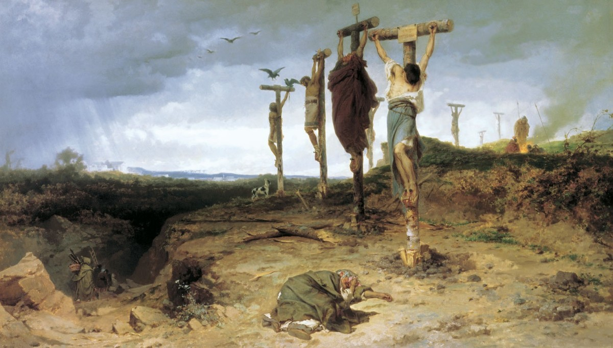 While the fate of Spartacus himself is unknown, more than 6000 of his followers were crucified along the road from Rome to Capua by Crassus as an example.