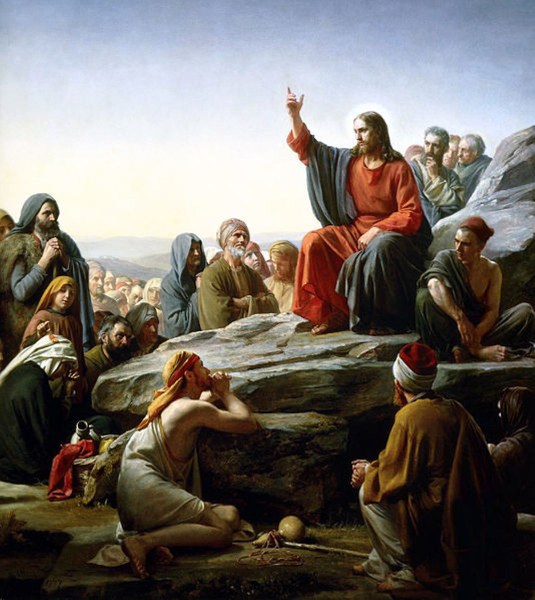 Jesus Christ delivering his famous Sermon on the Mount at a time when the Roman Empire was at the height of its power.