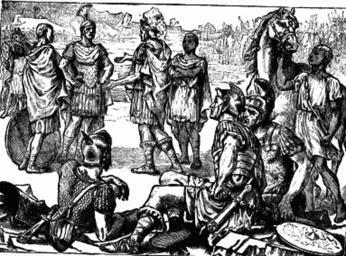Hannibal of Carthage surrenders to his great rival, Scipio Africanus of Rome on the plains of Zama in 202 BC.