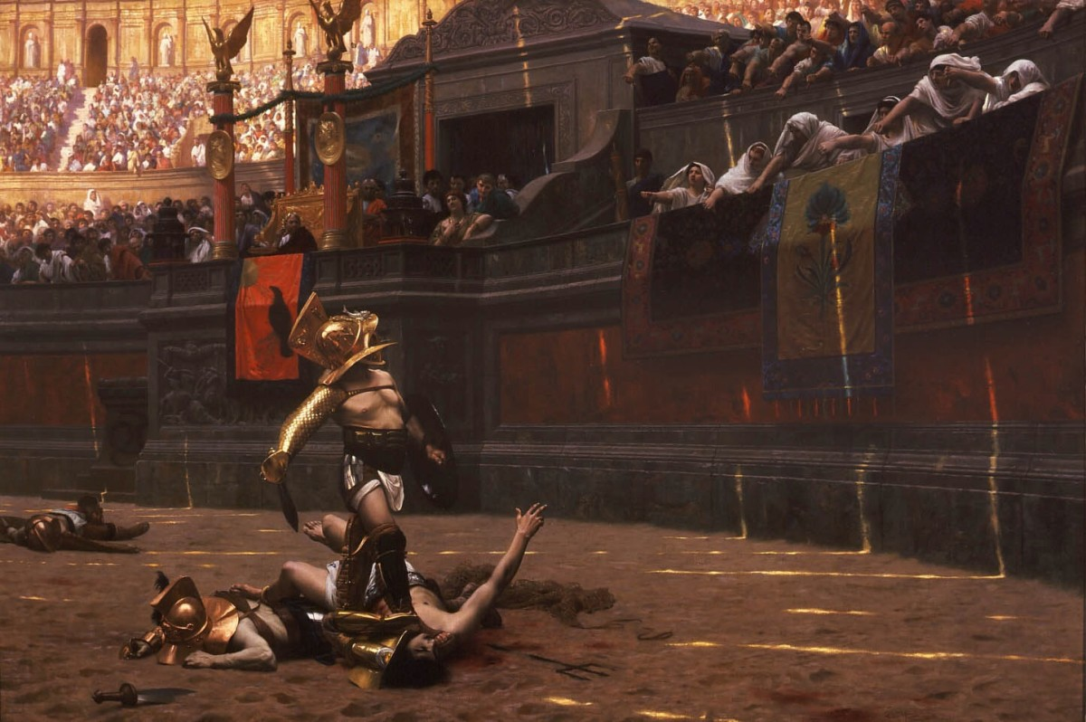 A depiction of a gladiatorial contest in the Roman Colosseum.