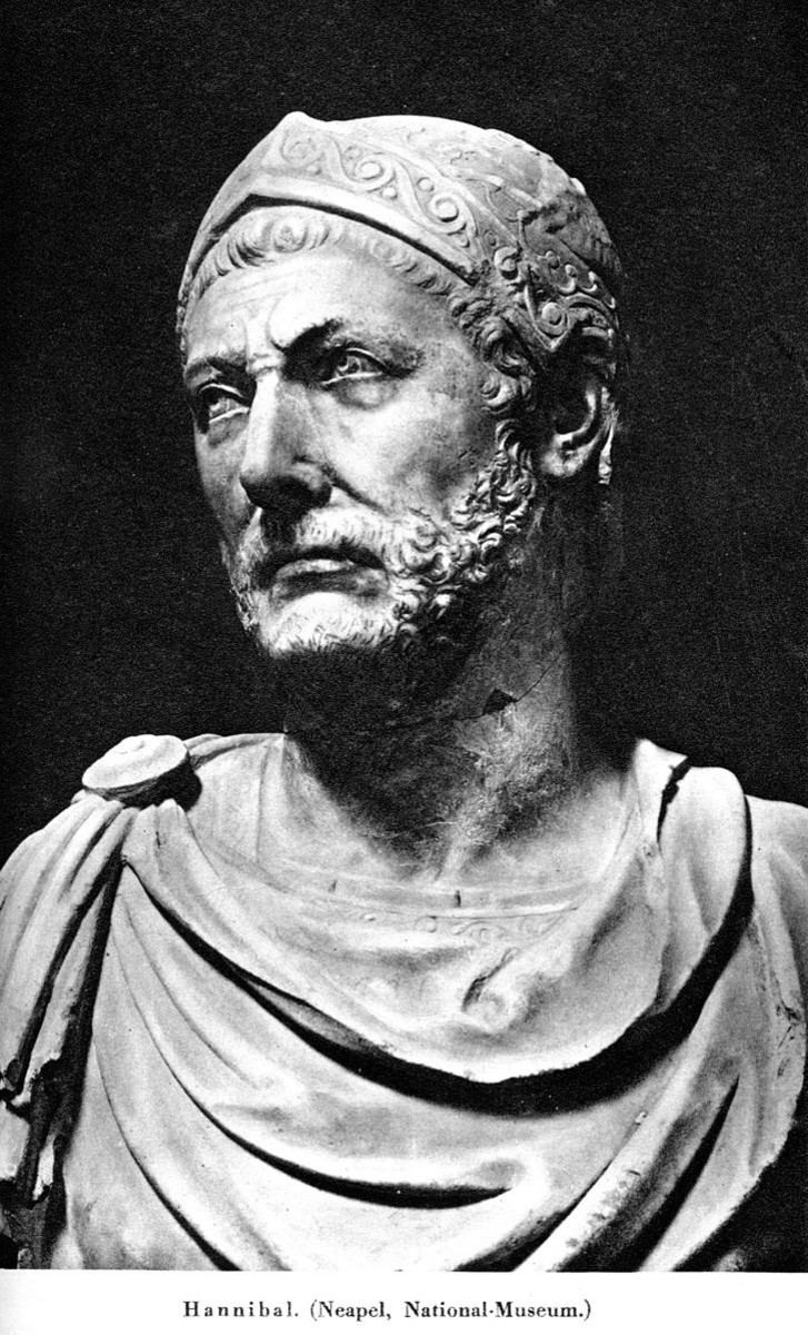 A marble bust that possibly represents the likeness of the great Carthaginian General, Hannibal.