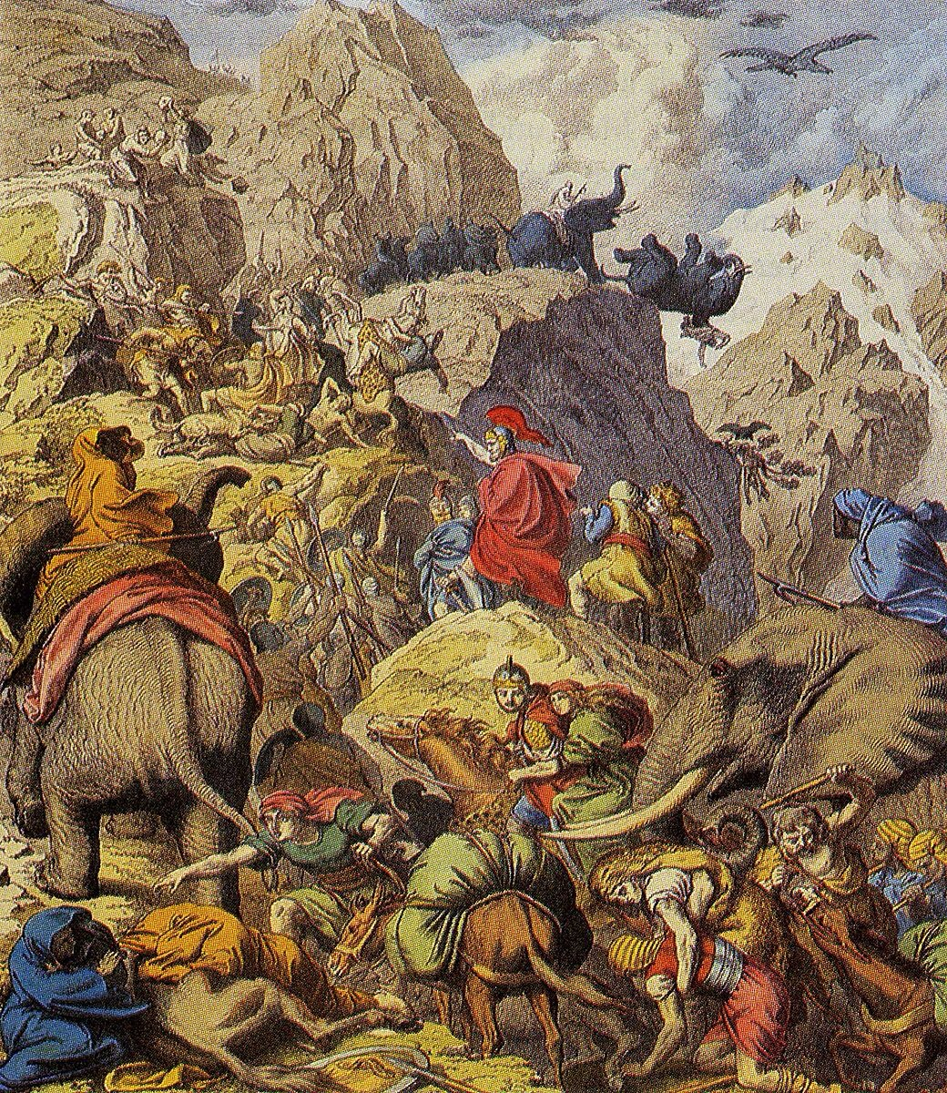 Hannibal, his man and his famous war elephants crossing the Alps.