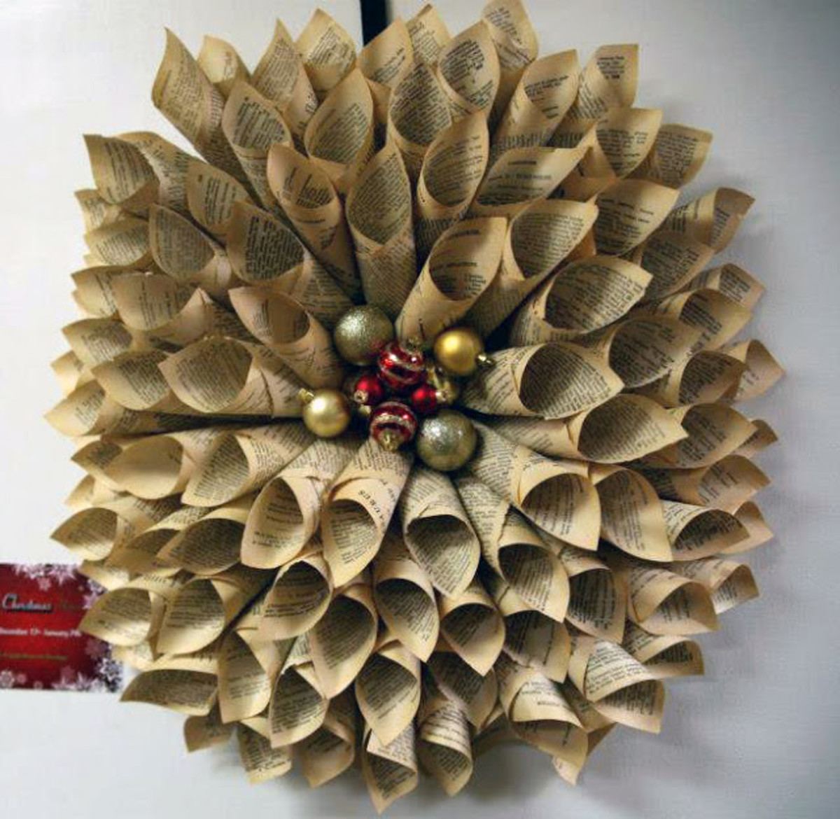 Book Pages Christmas Wreath