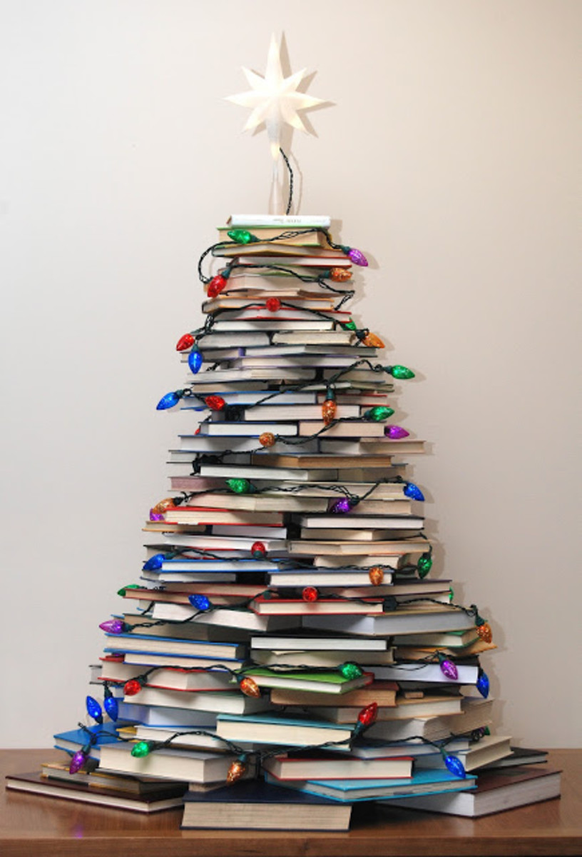 Tabletop Book Christmas Tree