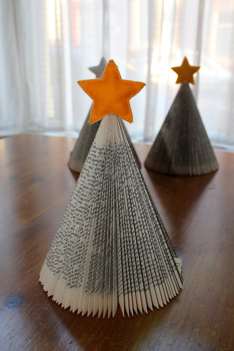Folded Book Pages Christmas Trees