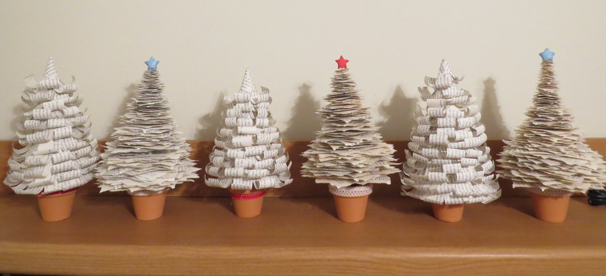 Tabletop Book Pages Christmas Trees