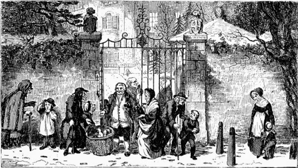 """Gate of the """"Old English Gentleman"""", showing people begging or caroling for food for winter."""