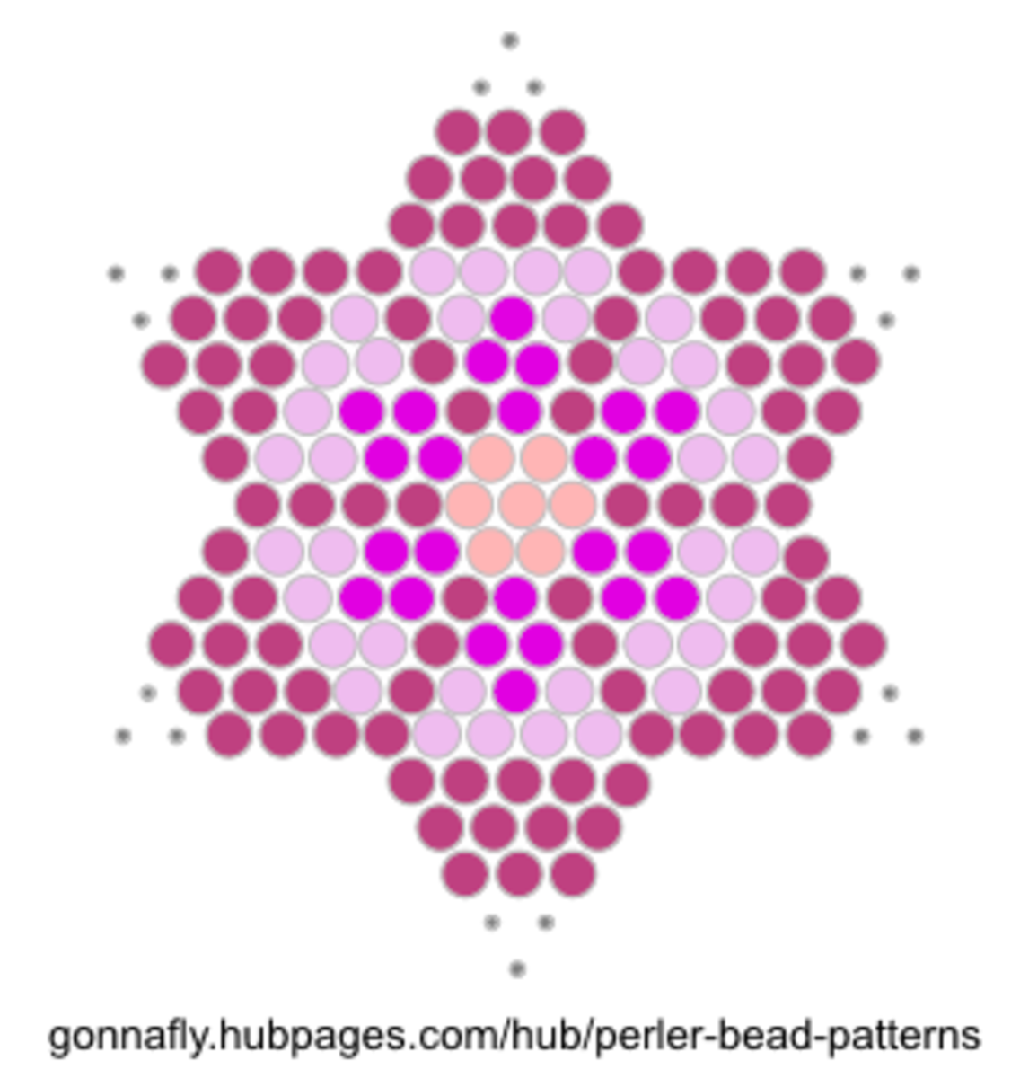 pink star flower perler bead pattern