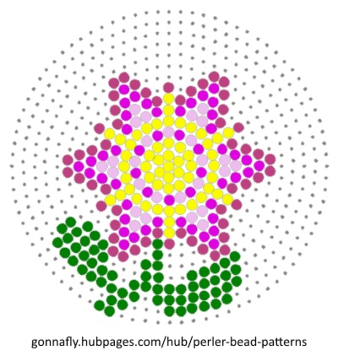 pink and yellow flower perler bead pattern